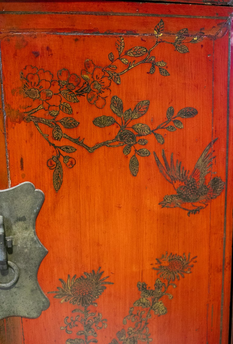 19th Century Chinese Red Lacquer Painted Two-Door Wedding Cabinet For Sale 1