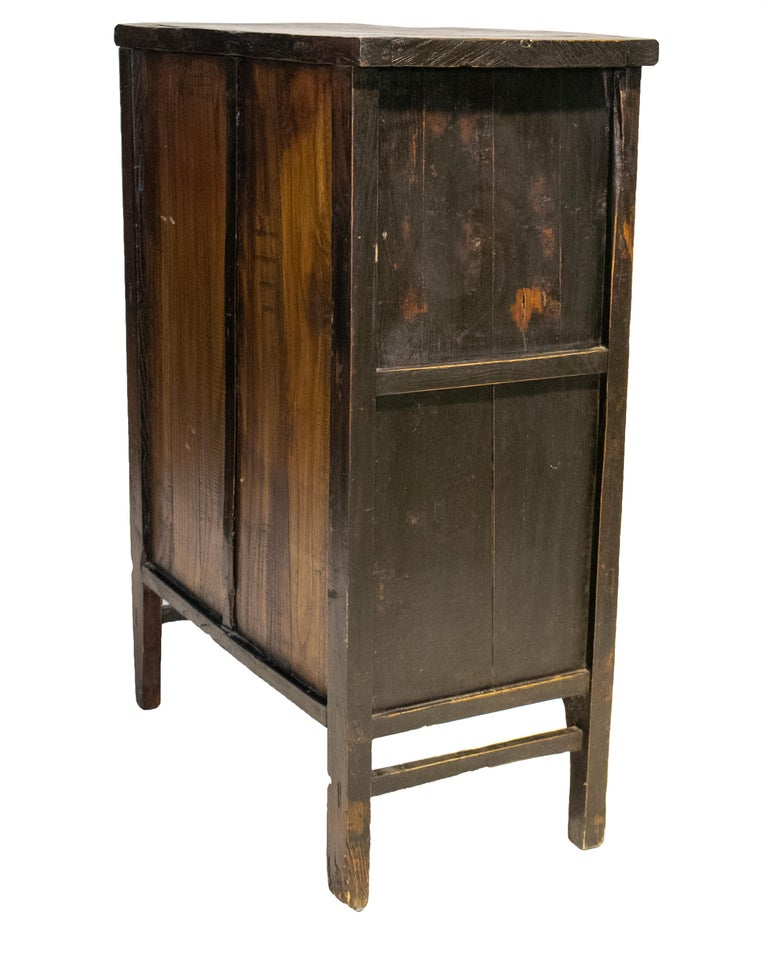 19th Century Chinese Red Lacquer Painted Two-Door Wedding Cabinet For Sale 2