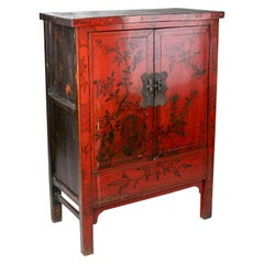 19th Century Chinese Red Lacquer Painted Two-Door Wedding Cabinet