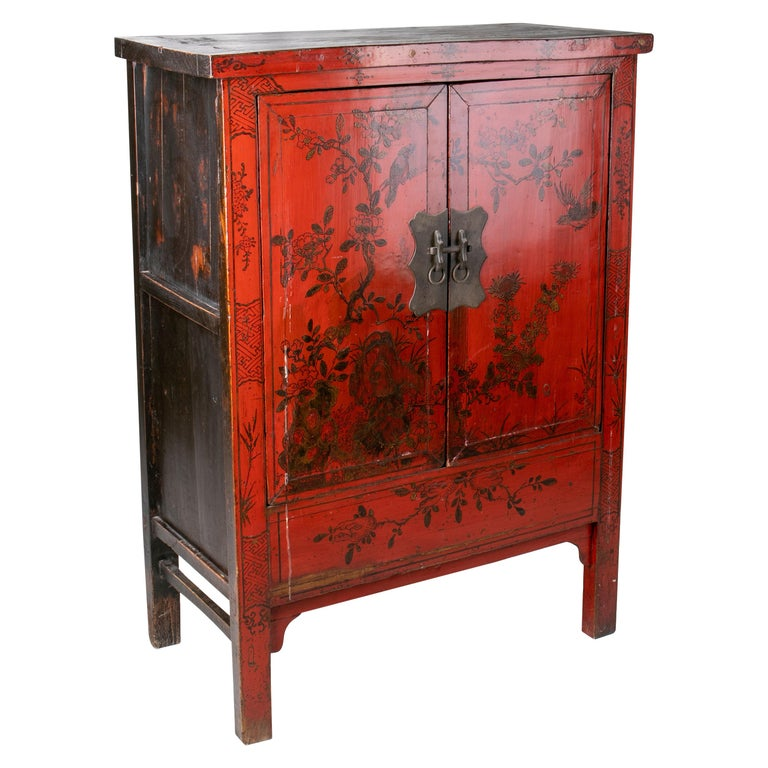 19th Century Chinese Red Lacquer Painted Two-Door Wedding Cabinet For Sale