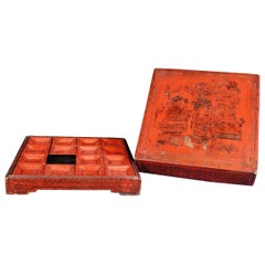 19th Century Chinese Red Lacquer Snack Box