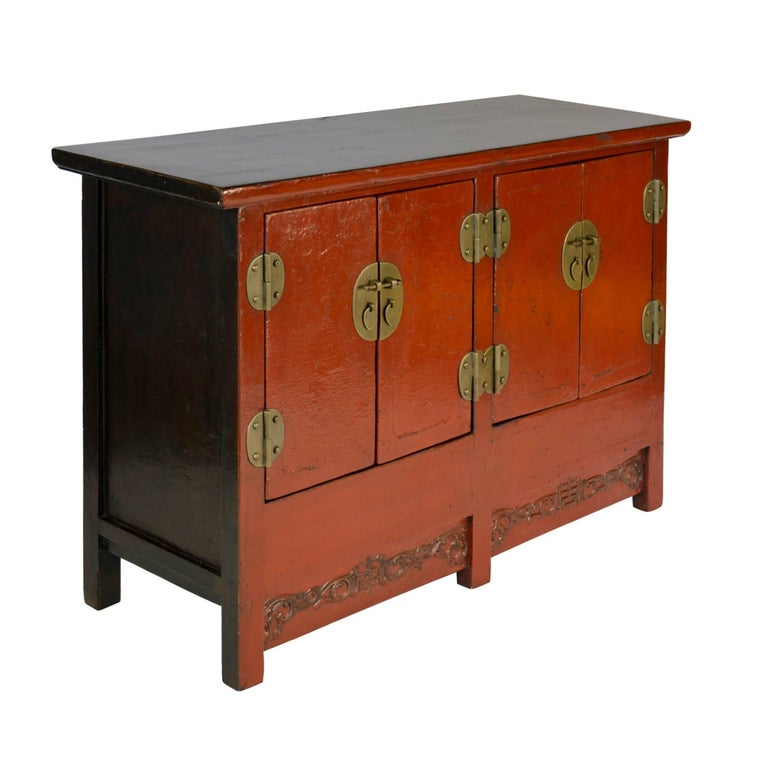 Qing 19th Century Chinese Red Lacquer Twin Chest For Sale