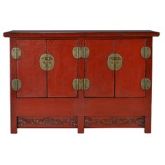 19th Century Chinese Red Lacquer Twin Chest