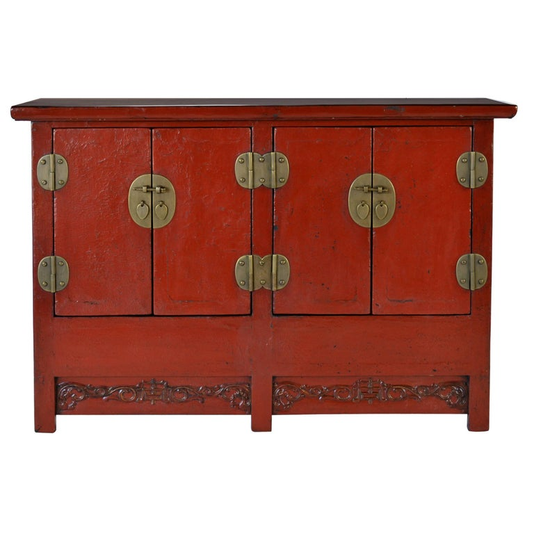 19th Century Chinese Red Lacquer Twin Chest For Sale