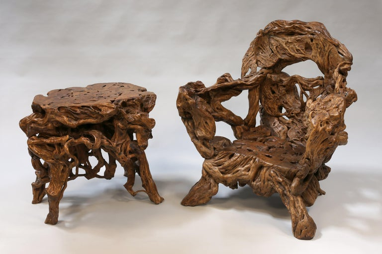 18th and 19th century Chinese root wood art chairs and table set