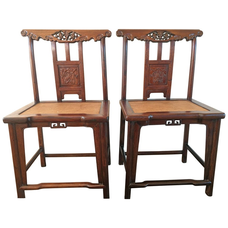 19th Century Chinese Rose Wood Pair of Sidechairs Qing Dynasty For Sale