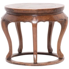 19th Century Chinese Round Table with Marble Top
