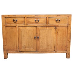 19th Century Chinese rustic pine dresser with three drawers / two door cupboard