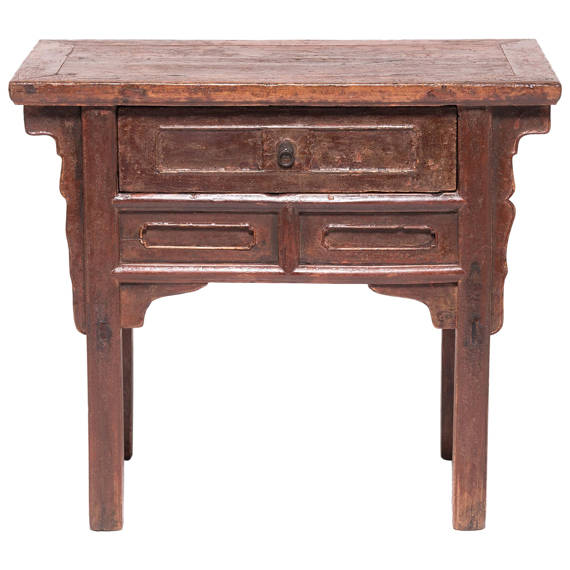 19th Century Chinese Rustic Lacquer Side Table with Drawer