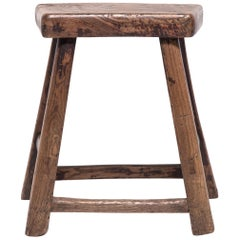 19th Century Chinese Rustic Tapered Leg Stool