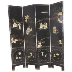 19th Century Chinese Screen, Hand Decorated in Ebony, Ivory, Mother of Pearl