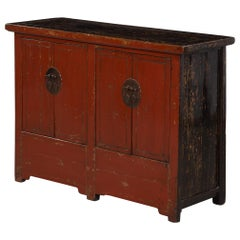 19th Century Chinese Sideboard in Red Lacquer