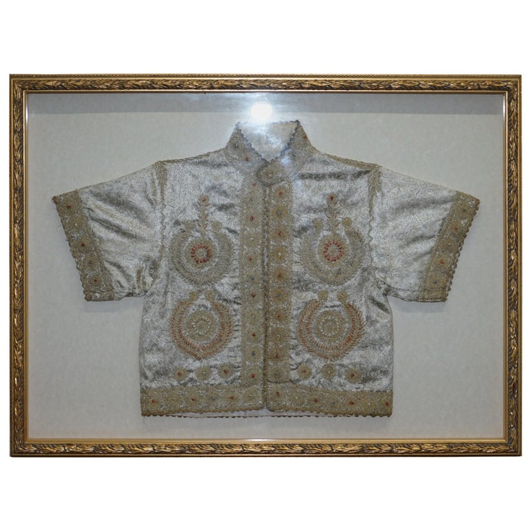 19th Century Chinese Silk Embroidered Ceremonial Jacket in Display Picture Frame For Sale