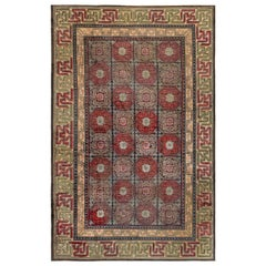 19th Century Chinese Silk Rug in Red, Black, Beige and Brown