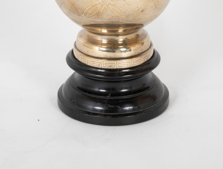 Qing 19th Century Chinese Silver Inlaid Bronze Table Lamp For Sale