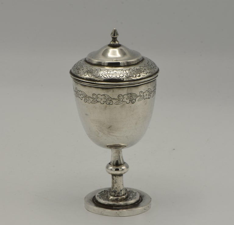19th Century Chinese Silver Kiddush Goblet with a Saucer For Sale 1