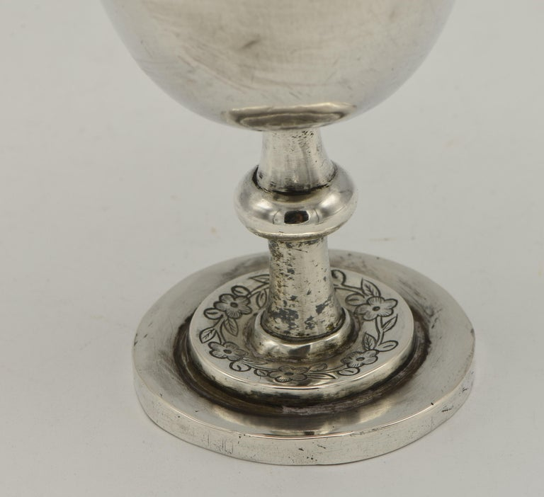 19th Century Chinese Silver Kiddush Goblet with a Saucer For Sale 3