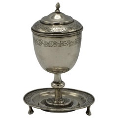19th Century Chinese Silver Kiddush Goblet with a Saucer