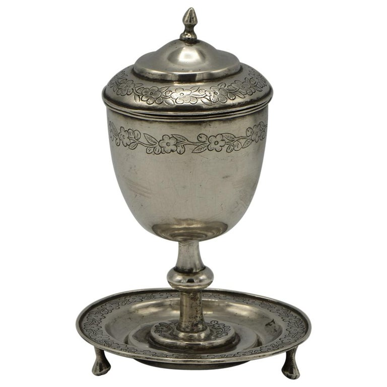 19th Century Chinese Silver Kiddush Goblet with a Saucer For Sale