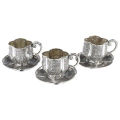 19th Century Chinese Solid Silver Three Tea Cups & Saucers, Nam-Hing, circa 1890