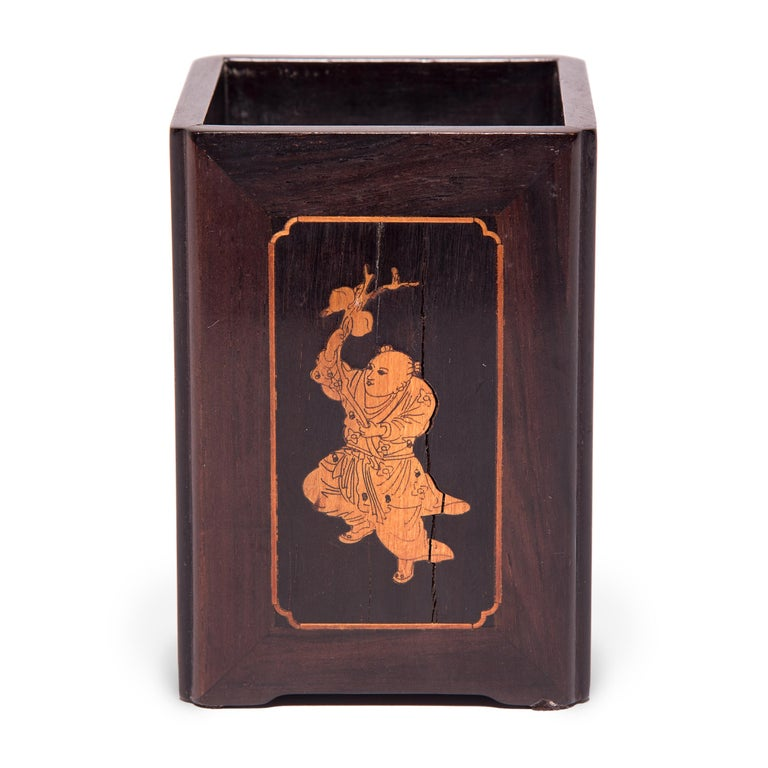 Qing 19th Century Chinese Square Rosewood, Boxwood, and Bone Brush Pot For Sale