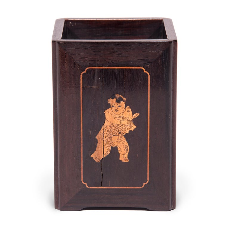 Inlay 19th Century Chinese Square Rosewood, Boxwood, and Bone Brush Pot For Sale