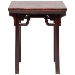 19th Century Chinese Square Table with Humpback Stretchers