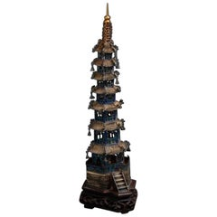 19th Century Chinese Sterling Silver Pagoda