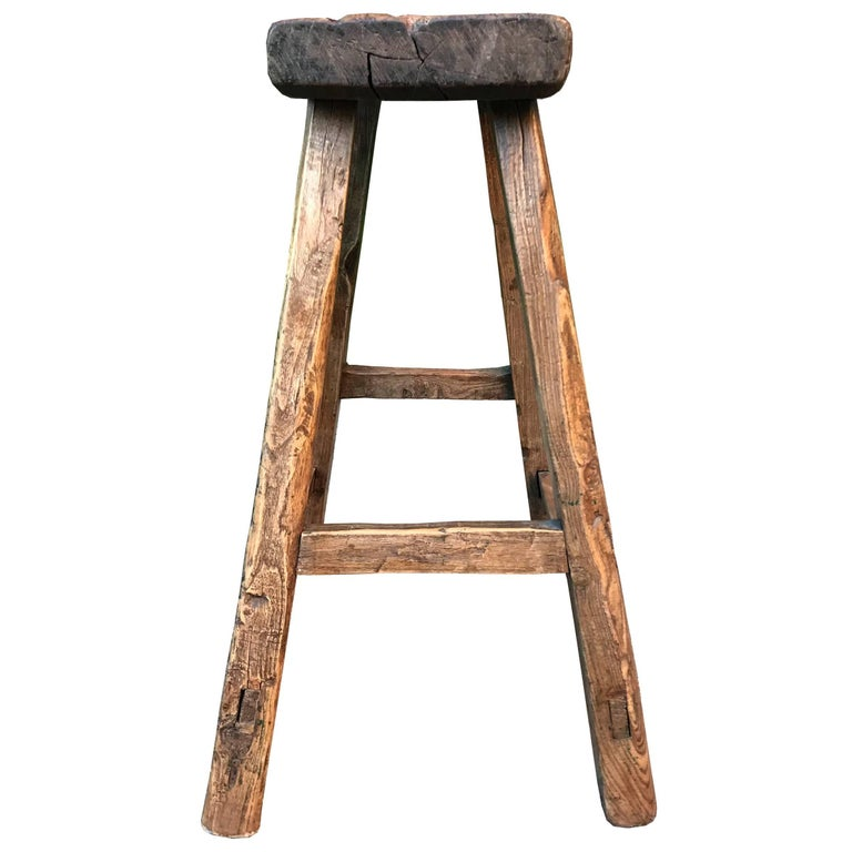 Primitive 19th Century Chinese Stool For Sale