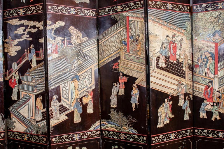 19th Century Chinese Stunning Coromandel Screen For Sale 8