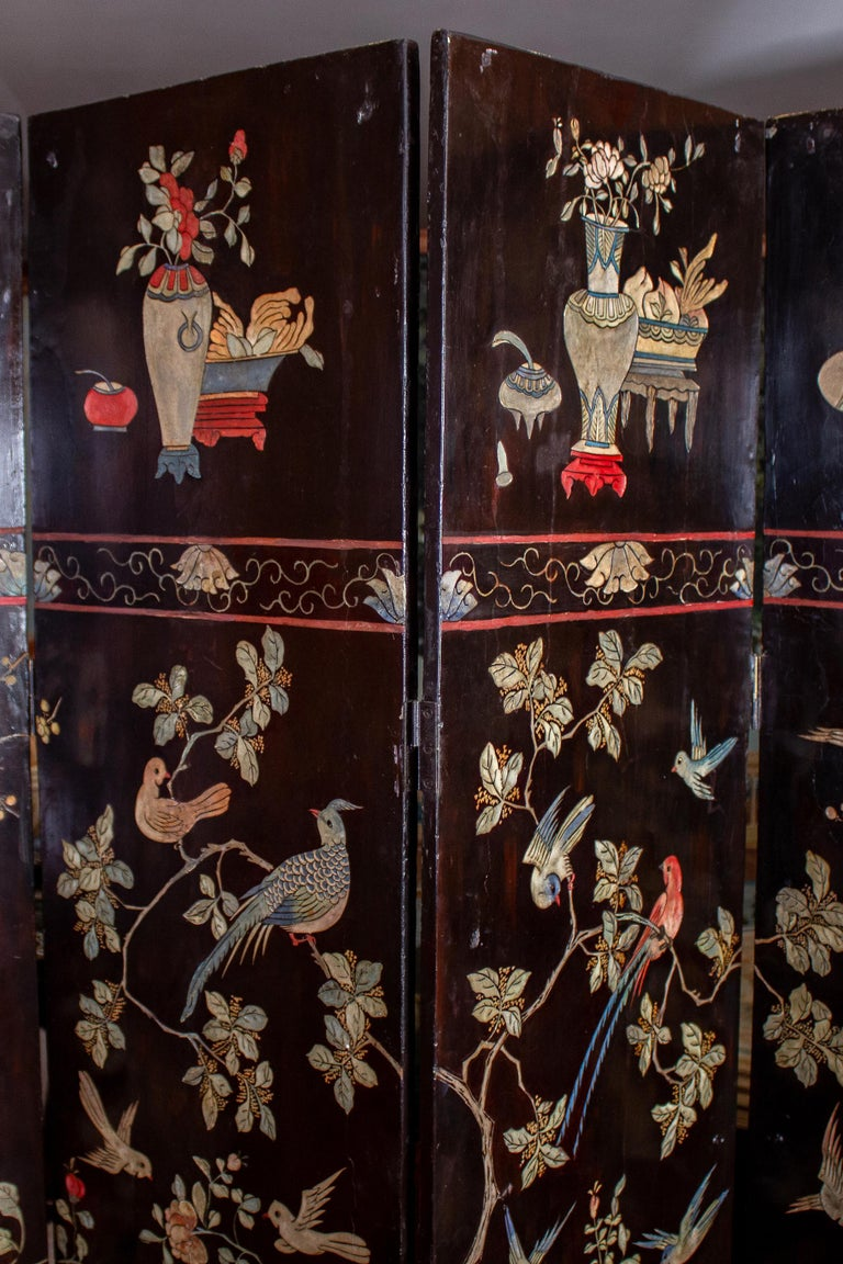 19th Century Chinese Stunning Coromandel Screen In Good Condition For Sale In Rome, IT