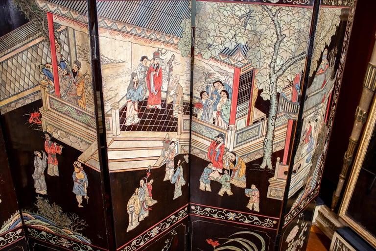 Wood 19th Century Chinese Stunning Coromandel Screen For Sale