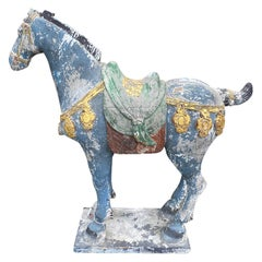 19th Century Chinese Tang Style Carved Wood Horse, Possibly Ching Dynasty