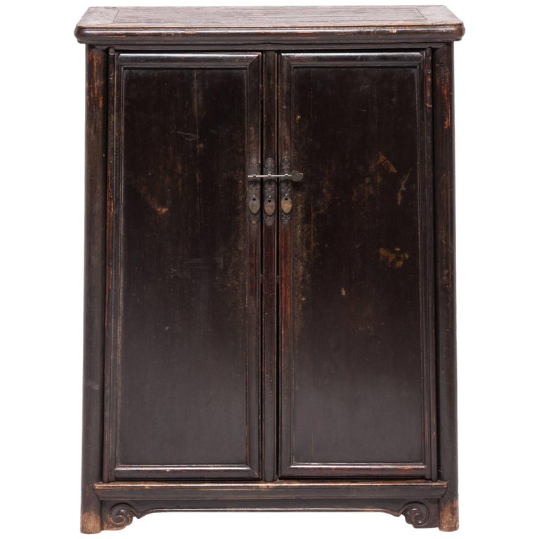 19th Century Chinese Tapered Round Corner Book Cabinet For