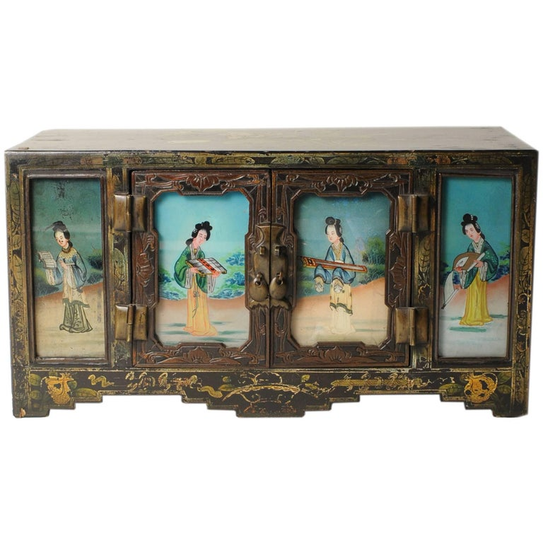 19th Century Chinese Treasure Chest with Reverse Glass Painted Panels