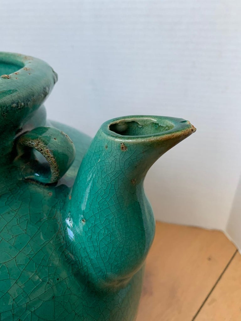 19th Century Chinese Turquoise Glazed Pottery Jug / Pitcher For Sale 7