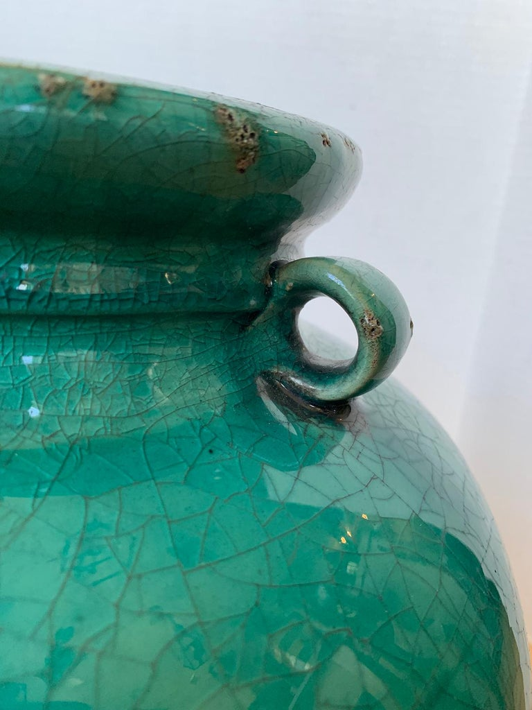19th Century Chinese Turquoise Glazed Pottery Jug / Pitcher For Sale 9