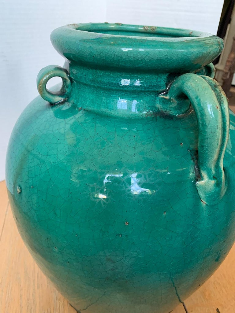 19th Century Chinese Turquoise Glazed Pottery Jug / Pitcher For Sale 11