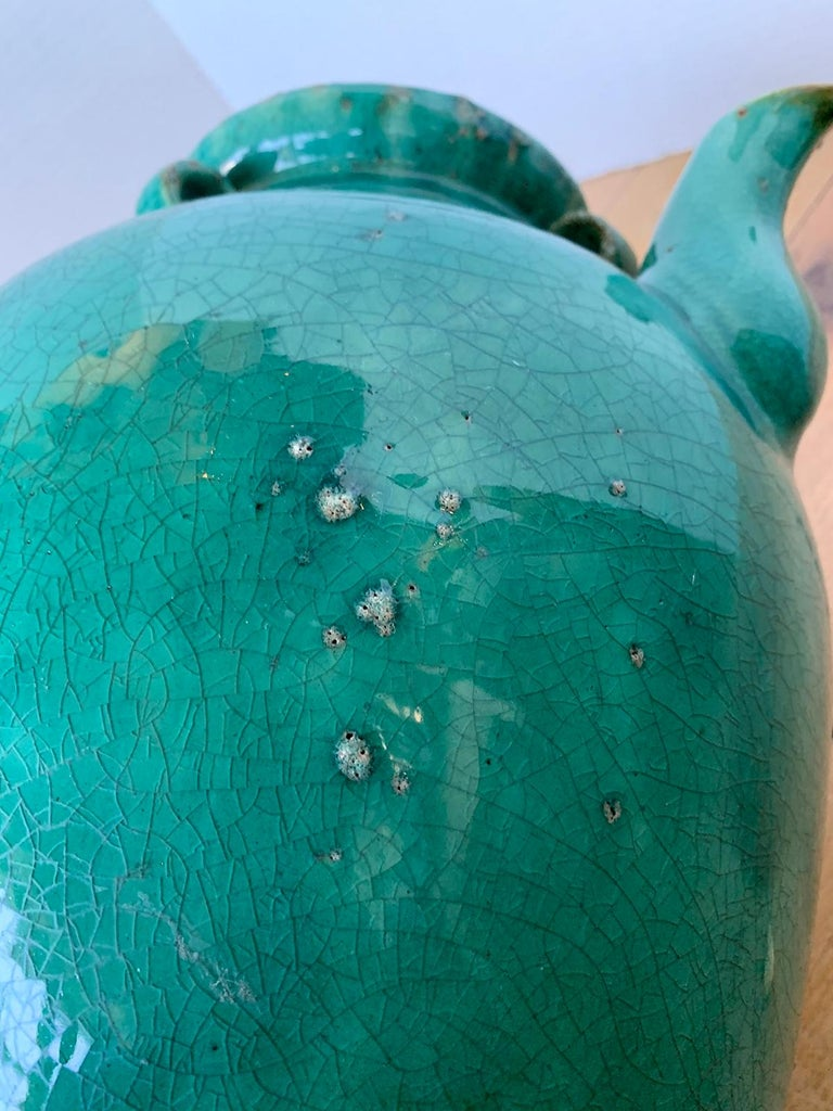 19th Century Chinese Turquoise Glazed Pottery Jug / Pitcher For Sale 12