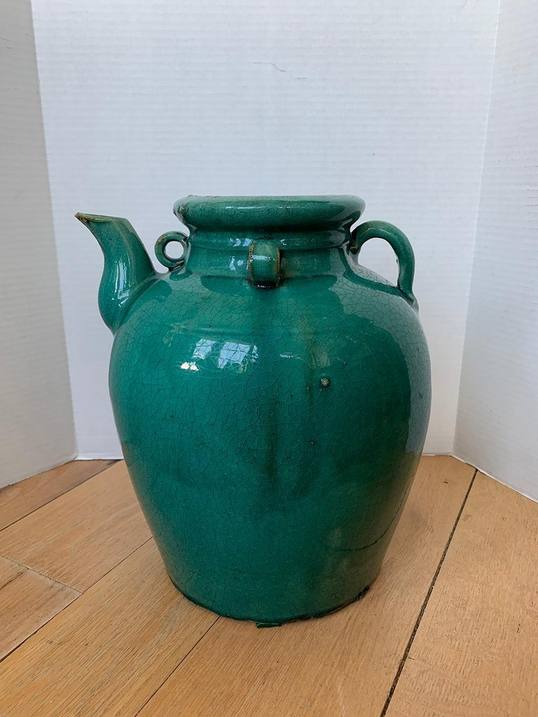 19th Century Chinese Turquoise Glazed Pottery Jug / Pitcher In Good Condition For Sale In Atlanta, GA