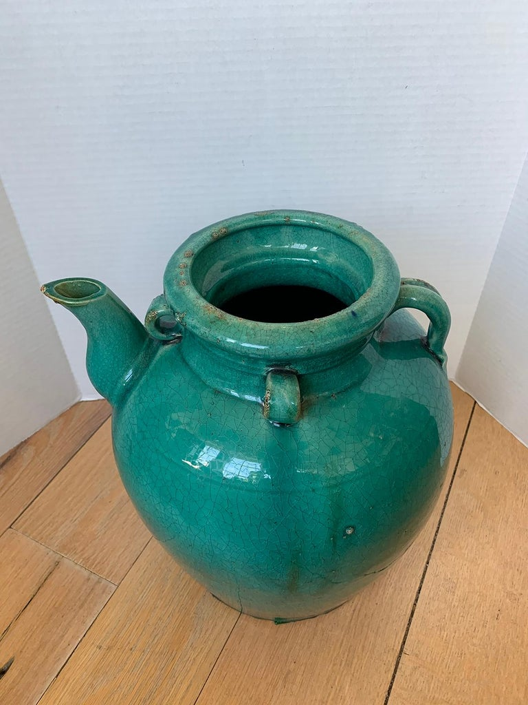 19th Century Chinese Turquoise Glazed Pottery Jug / Pitcher For Sale 1