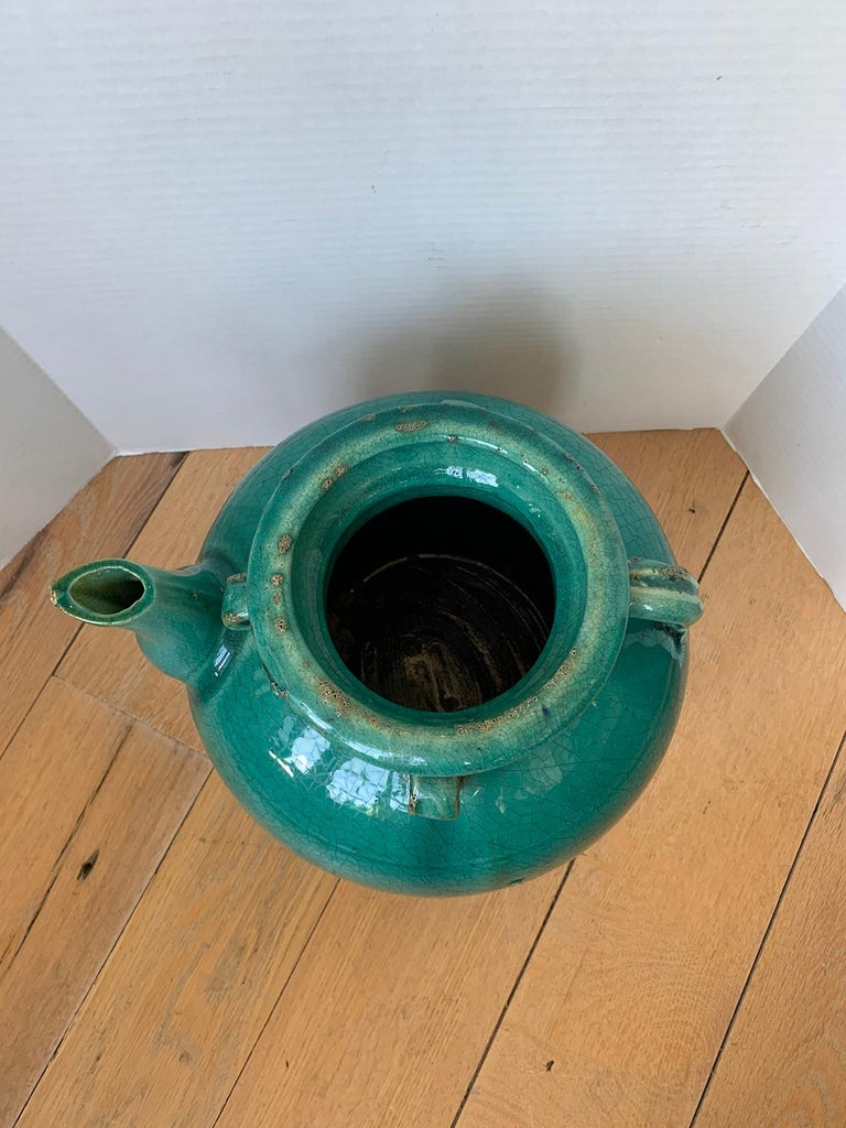 19th Century Chinese Turquoise Glazed Pottery Jug / Pitcher For Sale 2