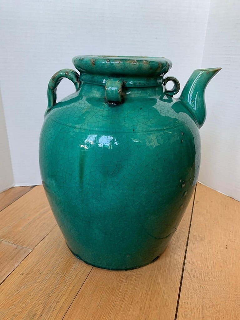 19th Century Chinese Turquoise Glazed Pottery Jug / Pitcher For Sale 4