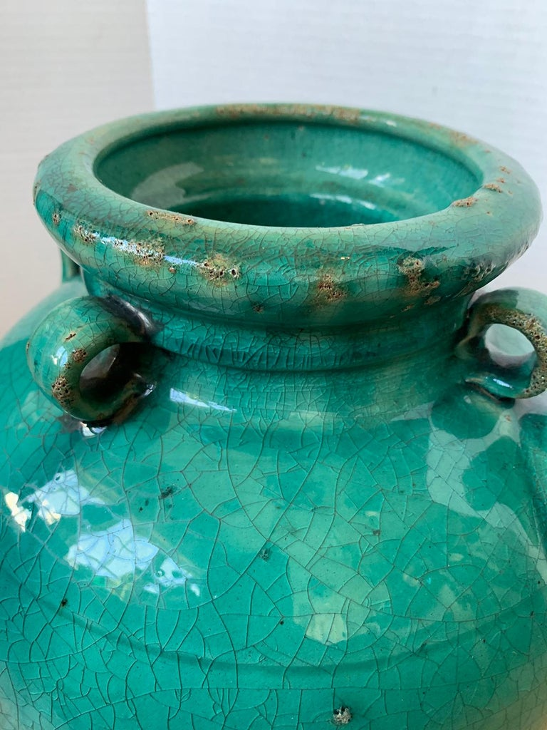 19th Century Chinese Turquoise Glazed Pottery Jug / Pitcher For Sale 6