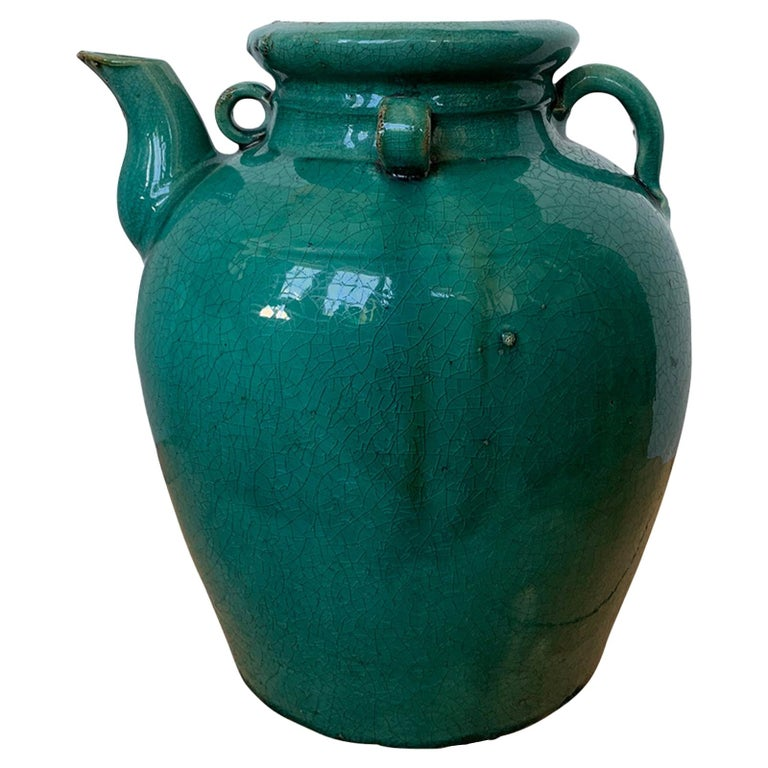 19th Century Chinese Turquoise Glazed Pottery Jug / Pitcher For Sale