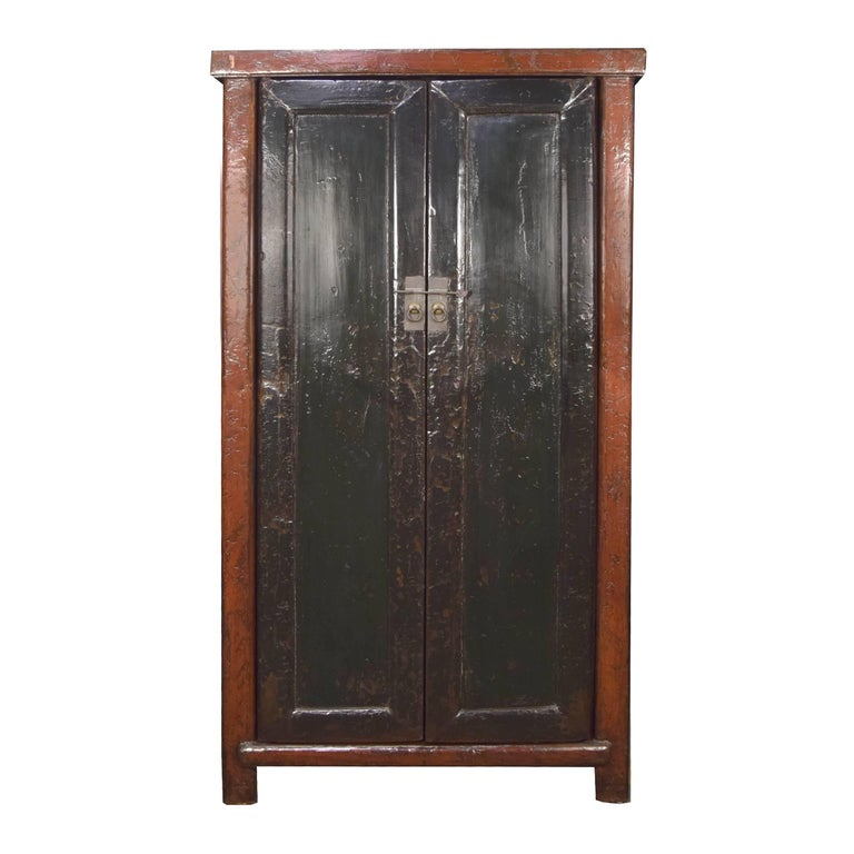 19th Century Chinese Two-Door Black and Red Lacquer Cabinet