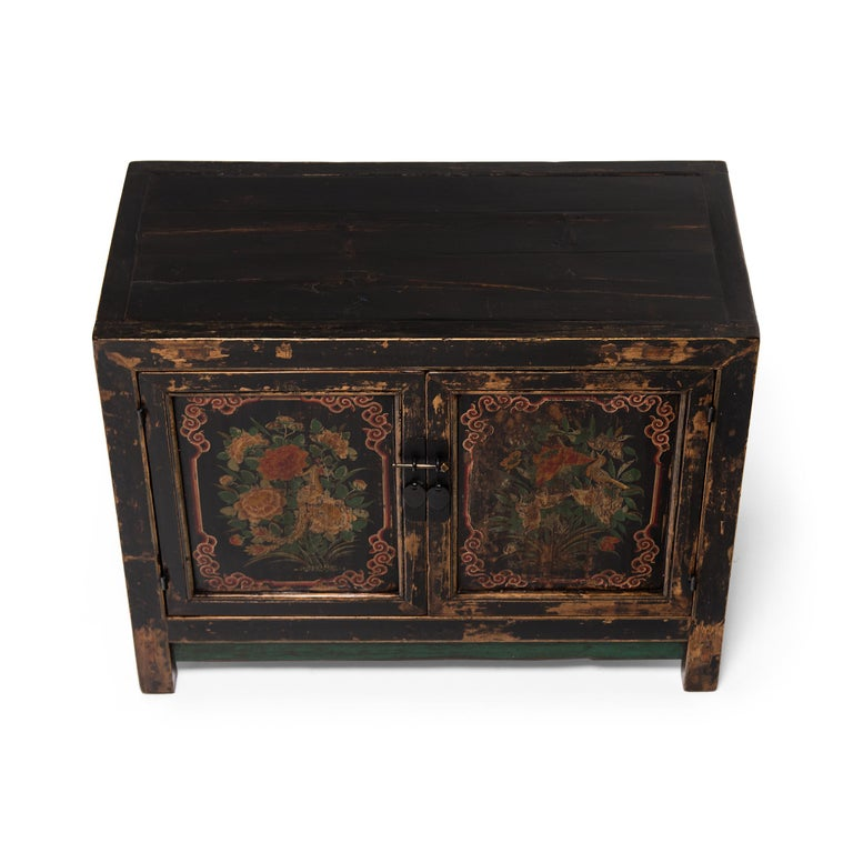 Brass 19th Century Chinese Two-Door Painted Chest For Sale