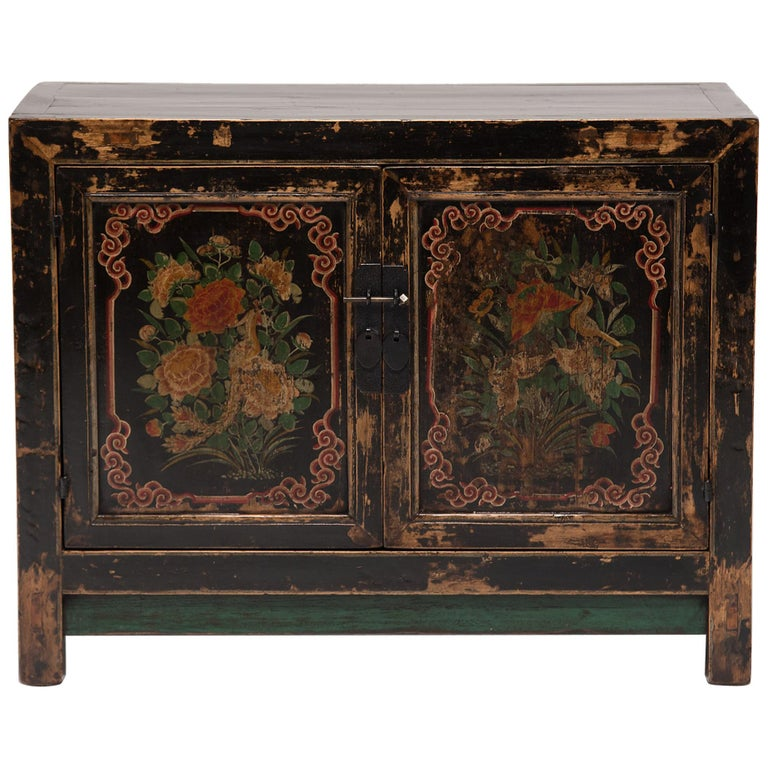 19th Century Chinese Two-Door Painted Chest For Sale