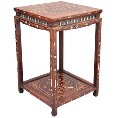 19th Century Chinese Two-Tier Inlaid Occasional Table
