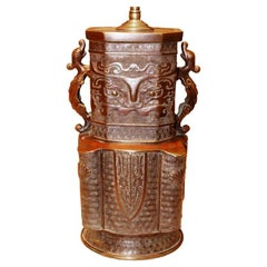 19th Century Chinese Urn In Bronze, Mounted As A Table Lamp